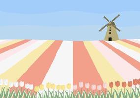 illustration vectorielle de concept avec des champs de tulipes hollandaises et un moulin. parfait pour la publication sur Internet, le papier peint, les affiches, les cartes de vœux. vecteur