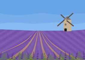 champ de lavande avec un moulin à vent. illustration vectorielle de concept. paysage abstrait. vecteur