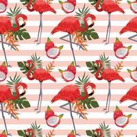 modèle sans couture tropical avec des flamants roses vecteur