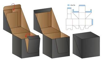boîte d'emballage conception de modèle découpé. Maquette 3D vecteur