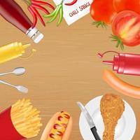 poulet frites saucisse sauce tomate poivron vecteur