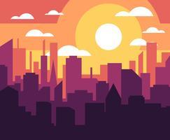 illustration de coucher de soleil paysage urbain vecteur