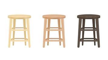 Chaise ronde en bois véritable sur fond blanc vecteur