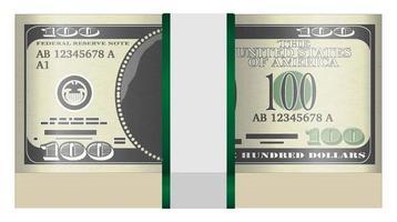 Pack de billets de 100 dollars sur fond blanc vecteur