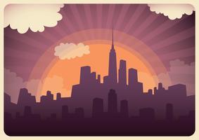 Cityscape coucher de soleil vecteur