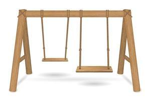 vecteur de balançoire en bois sur fond blanc