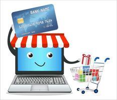 Boutique en ligne d'ordinateur portable avec carte de crédit et panier vecteur