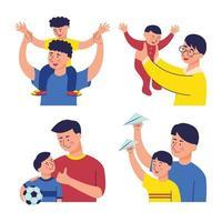jeu de caractères père et fils vecteur