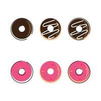 modèle de logo vectoriel donut. beignet savoureux sucré. illustration de signe de dessert. pour le café-restaurant. concept à emporter.
