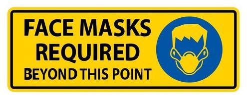 masques faciaux requis au-delà de ce signe signe isoler sur fond blanc, illustration vectorielle eps.10 vecteur