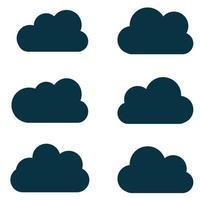 silhouettes de nuages. ensemble de vecteurs de formes de nuages. collection de formes et de contours variés. éléments de conception pour les prévisions météorologiques, interface Web vecteur