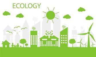les villes vertes aident le monde avec des idées de concept écologiques.Illustration vectorielle vecteur