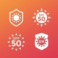 crème solaire, protéger des rayons uv, icônes spf 50 vecteur