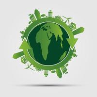 concept d'écologie. save world.ggreen cities aide le monde avec des concepts écologiques illustration vectorielle vecteur