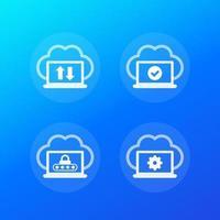 synchronisation avec le cloud, synchronisation terminée, données protégées, icônes vectorielles vecteur