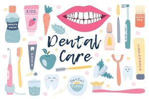 grand ensemble de soins dentaires, hygiène bucco-dentaire. fil dentaire, chewing-gum, pâte, sourire blanc comme neige, pomme. vecteur