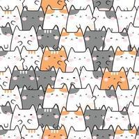 Modèle sans couture de dessin animé mignon chat potelé chaton doodle vecteur