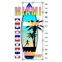 chemise à logo imprimé Miami Surf vecteur