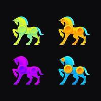 conception de logo de cheval coloré vektor vecteur