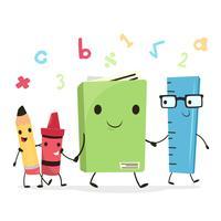 Crayon mignon, crayon, livre et règle l'école personnage marchant ensemble