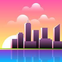 Illustration de paysage de coucher de soleil vecteur