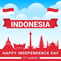 Illustration du festival de la fête de l'indépendance indonésienne vecteur