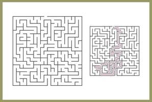 labyrinthe pour les enfants. Labyrinthe carré abstrait. trouvez le chemin vers le don. jeu pour les enfants. puzzle pour les enfants. énigme labyrinthe. illustration vectorielle plane isolée sur fond blanc. avec réponse vecteur gratuit