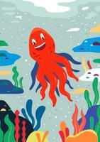 Illustration vectorielle de poulpe vecteur