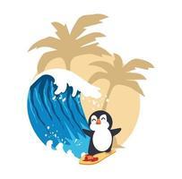 pingouin mignon surfant dans une grosse vague vecteur
