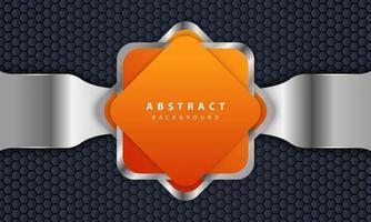 fond orange avec style 3d. fond rectangle avec une combinaison de lignes hexagonales et argentées. vecteur