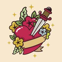 Tatouage de coeur avec le vecteur de l'épée