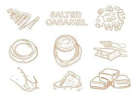 produits au caramel. cadre de vue de dessus. illustration dessinée à la main. morceaux de modèle de conception de caramel. conception gravée. idéal pour la conception de colis. illustration vectorielle. vecteur