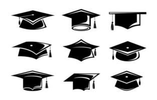 collection de graduation de chapeau vecteur