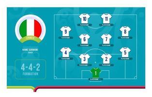 italie line-up football tournoi stade final illustration vectorielle vecteur
