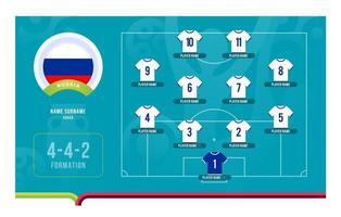 illustration vectorielle de russie line-up tournoi de football phase finale vecteur