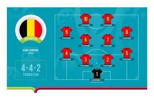 belgique line-up football tournoi phase finale illustration vectorielle vecteur