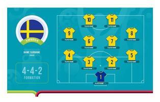 illustration vectorielle de Suède line-up tournoi de football phase finale vecteur