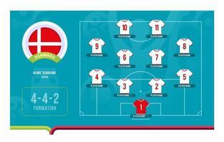 danemark line-up football tournoi stade final illustration vectorielle vecteur