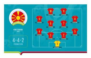 illustration vectorielle de macédoine du nord line-up tournoi de football phase finale vecteur