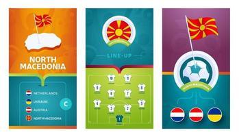 Bannière verticale de football européen de l'équipe de macédoine du nord définie pour les médias sociaux vecteur