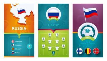 bannière verticale de football européen équipe de russie définie pour les médias sociaux vecteur