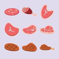 vecteur plat de jeu de steak de boeuf cru et mal cuit