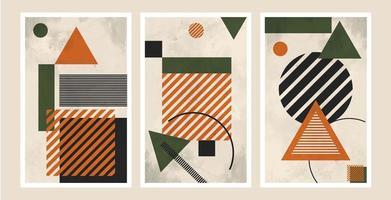 ensemble de compositions de fond de formes géométriques abstraites, adaptées à l'impression comme peinture, décoration intérieure, publications sociales, dépliants, couvertures de livres vecteur