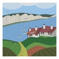 carte avec paysage marin anglais abstrait avec des chalets et des mouettes. illustration vectorielle. vecteur