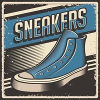 signe d'affiche de chaussures de baskets vintage rétro vecteur