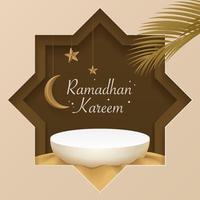 Podium islamique 3D sur sable avec lune, étoiles, feuilles de dates. bannière de salutations islamiques. produit d'affichage, cosmétique, scène, piédestal, base, plate-forme, présentation. Podium de vecteur réaliste 3D