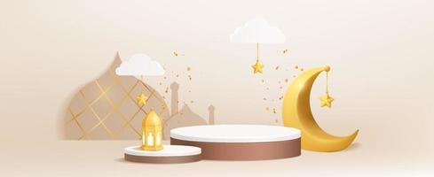 Podium de l'islam de luxe 3D en fond crème avec croissant de lune, lanter, nuages vecteur