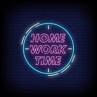temps de travail à la maison style vecteur de texte