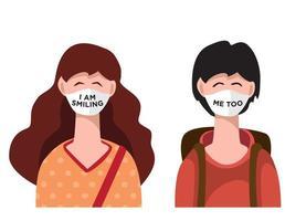 deux personnes sourient dans un masque médical. hommes et femmes portant une protection contre les virus et riant. masque médical drôle. illustration vectorielle vecteur