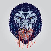 gorille en colère coloré vecteur